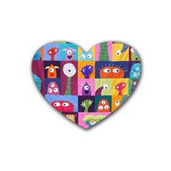 Monster Quilt Rubber Coaster (heart)