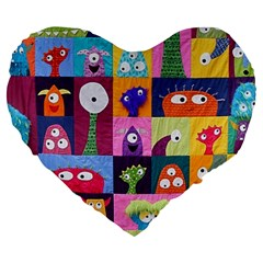 Monster Quilt Large 19  Premium Flano Heart Shape Cushions