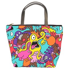 Monsters Pattern Bucket Bags by AnjaniArt
