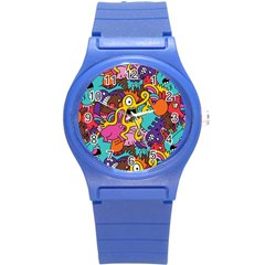 Monsters Pattern Round Plastic Sport Watch (s)