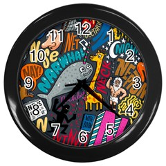 N Pattern Wall Clocks (black) by AnjaniArt