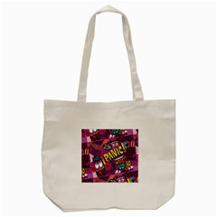 Panic Pattern Tote Bag (cream) by AnjaniArt