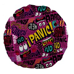 Panic Pattern Large 18  Premium Flano Round Cushions by AnjaniArt