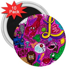 Pattern Monsters 3  Magnets (10 Pack)