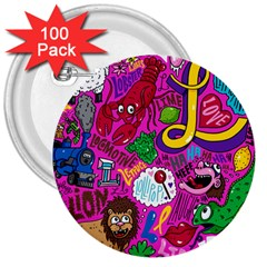 Pattern Monsters 3  Buttons (100 Pack)