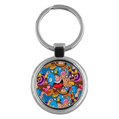 People Face Fun Cartoons Key Chains (round)  by AnjaniArt