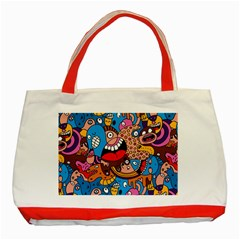 People Face Fun Cartoons Classic Tote Bag (red) by AnjaniArt