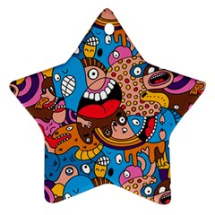 People Face Fun Cartoons Star Ornament (two Sides)