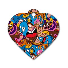 People Face Fun Cartoons Dog Tag Heart (one Side) by AnjaniArt