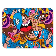 People Face Fun Cartoons Double Sided Flano Blanket (large)