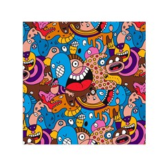 People Face Fun Cartoons Small Satin Scarf (square) by AnjaniArt