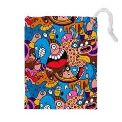 People Face Fun Cartoons Drawstring Pouches (extra Large) by AnjaniArt