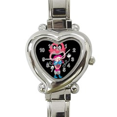 Red Cartoons Face Fun Heart Italian Charm Watch by AnjaniArt