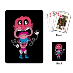 Red Cartoons Face Fun Playing Card by AnjaniArt