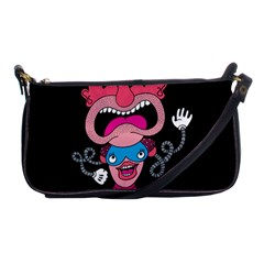 Red Cartoons Face Fun Shoulder Clutch Bags by AnjaniArt