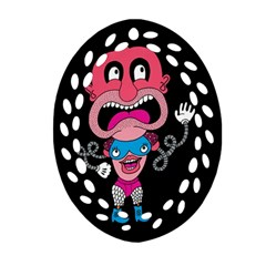Red Cartoons Face Fun Oval Filigree Ornament (2-side)  by AnjaniArt