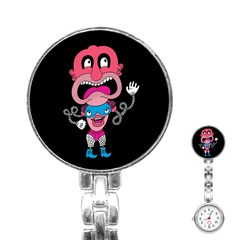 Red Cartoons Face Fun Stainless Steel Nurses Watch by AnjaniArt