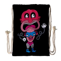 Red Cartoons Face Fun Drawstring Bag (large) by AnjaniArt