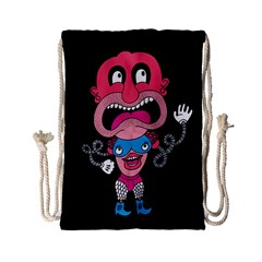 Red Cartoons Face Fun Drawstring Bag (small) by AnjaniArt