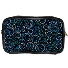 Blue Abstract Decor Toiletries Bags 2 Side