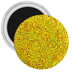 Yellow Abstract Art 3  Magnets by Valentinaart