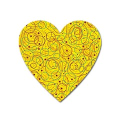 Yellow Abstract Art Heart Magnet by Valentinaart