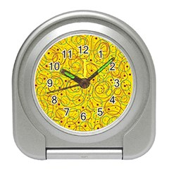 Yellow Abstract Art Travel Alarm Clocks by Valentinaart