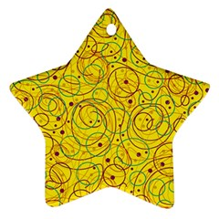 Yellow Abstract Art Star Ornament (two Sides)  by Valentinaart