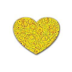 Yellow Abstract Art Rubber Coaster (heart)