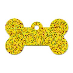 Yellow Abstract Art Dog Tag Bone (two Sides) by Valentinaart