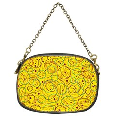 Yellow Abstract Art Chain Purses (one Side)  by Valentinaart