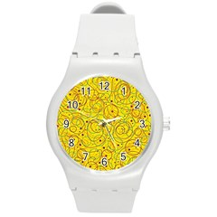 Yellow Abstract Art Round Plastic Sport Watch (m) by Valentinaart