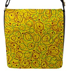 Yellow Abstract Art Flap Messenger Bag (s) by Valentinaart