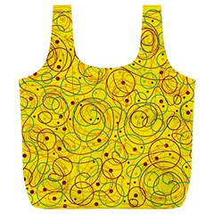 Yellow Abstract Art Full Print Recycle Bags (l)  by Valentinaart