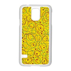 Yellow Abstract Art Samsung Galaxy S5 Case (white) by Valentinaart