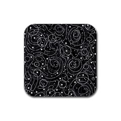 Black And White Magic Rubber Square Coaster (4 Pack)  by Valentinaart