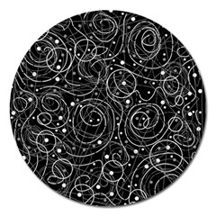 Black And White Magic Magnet 5  (round) by Valentinaart