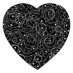 Black And White Magic Jigsaw Puzzle (heart) by Valentinaart
