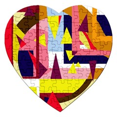 Colorful Abstraction Jigsaw Puzzle (heart) by Valentinaart