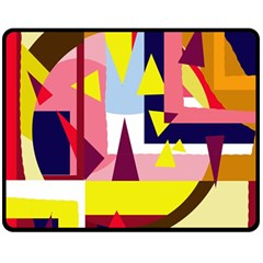 Colorful Abstraction Fleece Blanket (medium)  by Valentinaart