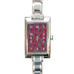 Decorative Abstract Art Rectangle Italian Charm Watch by Valentinaart