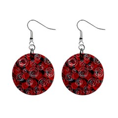 Red Abstract Decor Mini Button Earrings by Valentinaart