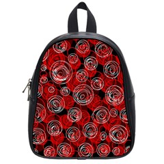 Red Abstract Decor School Bags (small)  by Valentinaart