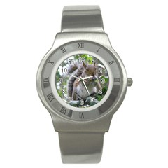 Gray Squirrel Eating Sycamore Seed Stainless Steel Watch by GiftsbyNature