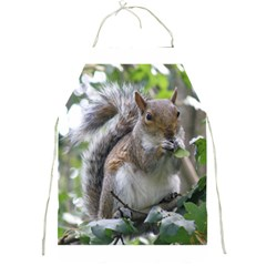 Gray Squirrel Eating Sycamore Seed Full Print Aprons by GiftsbyNature