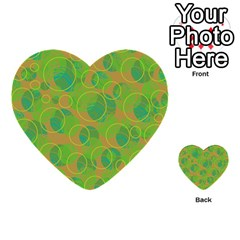 Green Decorative Art Multi Purpose Cards (heart)  by Valentinaart