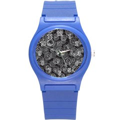Gray Abstract Art Round Plastic Sport Watch (s)