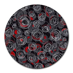 Red And Gray Abstract Art Round Mousepads by Valentinaart