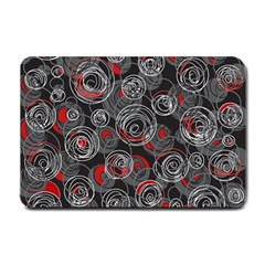 Red And Gray Abstract Art Small Doormat