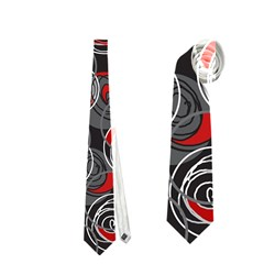 Red And Gray Abstract Art Neckties (two Side)  by Valentinaart